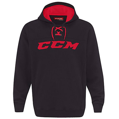 Black/Red (CCM True To Hockey Pullover Lace Hoody - Adult)