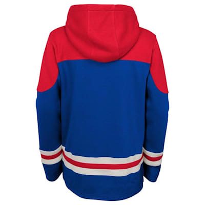 Back (Adidas New York Rangers Asset Pullover Hoodie - Youth)