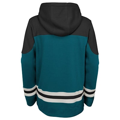 Back (Adidas San Jose Sharks Asset Pullover Hoodie - Youth)