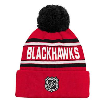 Back (Adidas Chicago Blackhawks Youth Pom Knit Hat)
