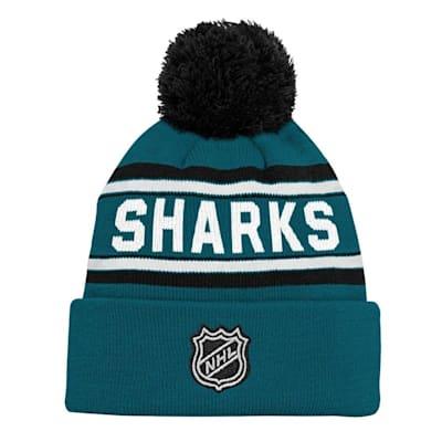 Back (Adidas San Jose Sharks Youth Pom Knit Hat)