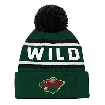 Front (Adidas Minnesota Wild Youth Pom Knit Hat)