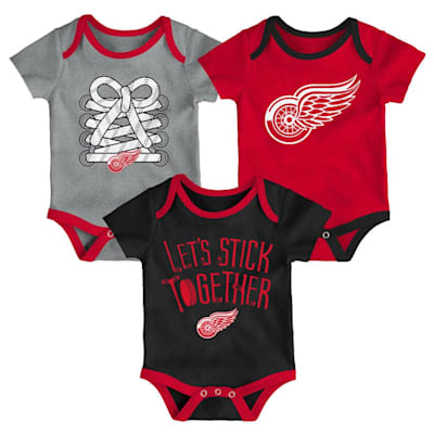 (Adidas Detroit Red Wings Five on Three Baby Onesie 3-Pack - Infant)