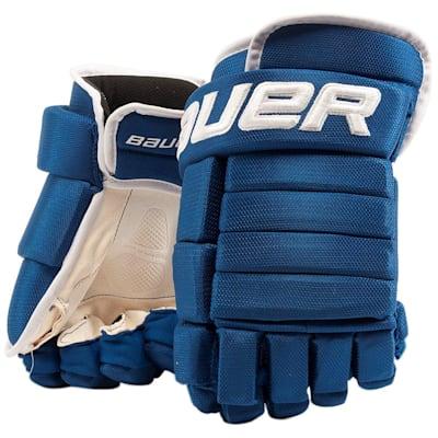 Blue/White (Bauer 4-Roll Team Pro Hockey Gloves - Junior)