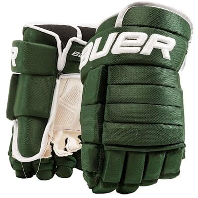 Green/White (Bauer 4-Roll Team Pro Hockey Gloves - Junior)