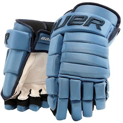 Columbia Blue/Navy (Bauer 4-Roll Team Pro Hockey Gloves - Junior)