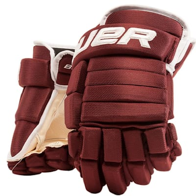 Maroon/White (Bauer 4-Roll Team Pro Hockey Gloves - Junior)
