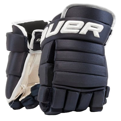 Navy/White (Bauer 4-Roll Team Pro Hockey Gloves - Junior)