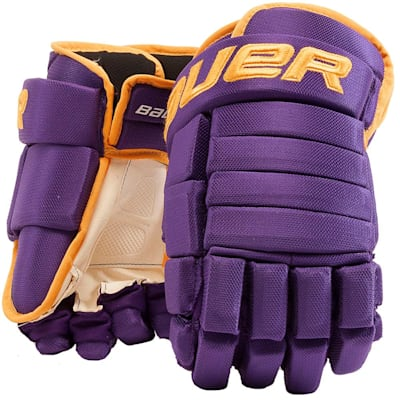 Purple/Gold (Bauer 4-Roll Team Pro Hockey Gloves - Junior)