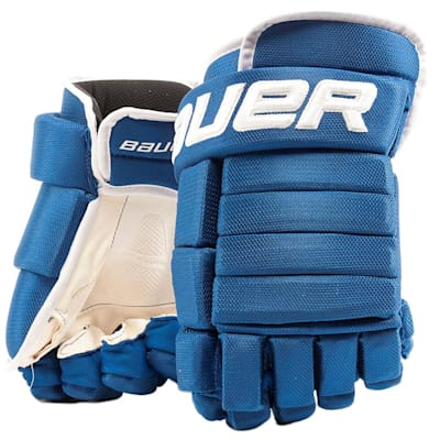 Royal/White (Bauer 4-Roll Team Pro Hockey Gloves - Junior)