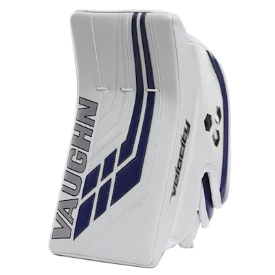 White/Blue (Vaughn Velocity VE8 Pro Carbon Goalie Blocker - Senior)