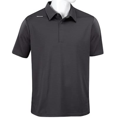 Grey (Bauer Short Sleeve Striped Sport Polo - Grey - Adult)