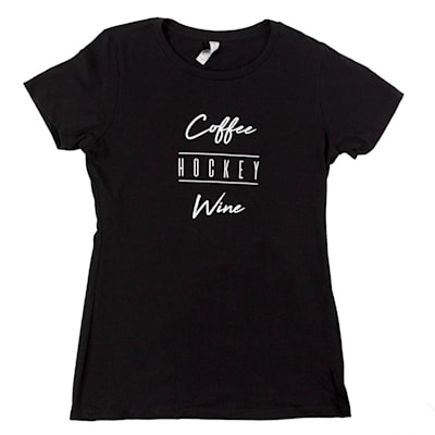 Black (PlusMinus Coffee.Hockey.Wine Womens Tee Shirt - Womens)
