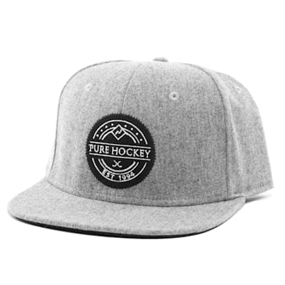 Front (Pure Hockey Heritage Grey Flat Brim Snapback Hat - Adult)