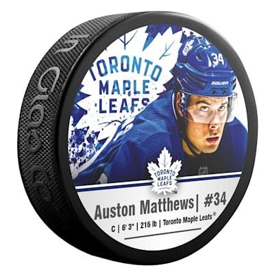 (InGlasco NHLPA Hockey Puck - Auston Matthews - #34 - Toronto Maple Leafs)