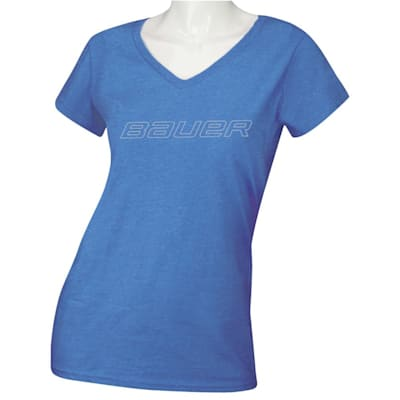 Heather Blue (Bauer Core Short Sleeve V-Neck Graphic Tee Shirt - Womens)
