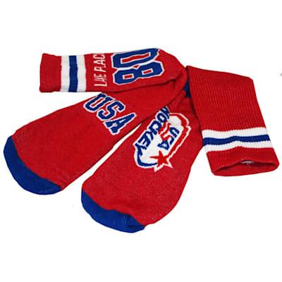 (USA Hockey Miracle Crew Socks Red - Adult)