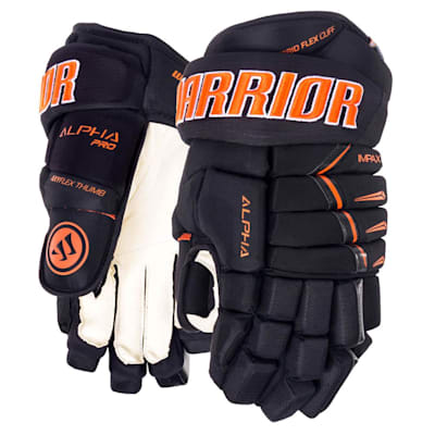 Black/Orange (Warrior Alpha Pro Hockey Gloves - 2019 - Junior)