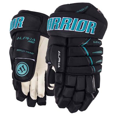 Black/Teal (Warrior Alpha Pro Hockey Gloves - 2019 - Junior)