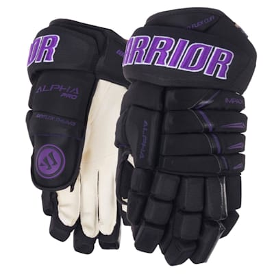 Black/Purple (Warrior Alpha Pro Hockey Gloves - 2019 - Senior)