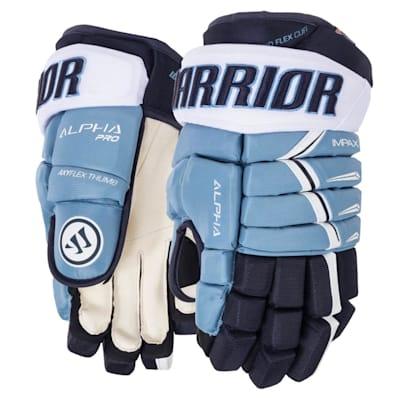 Carolina Blue/Navy (Warrior Alpha Pro Hockey Gloves - 2019 - Senior)