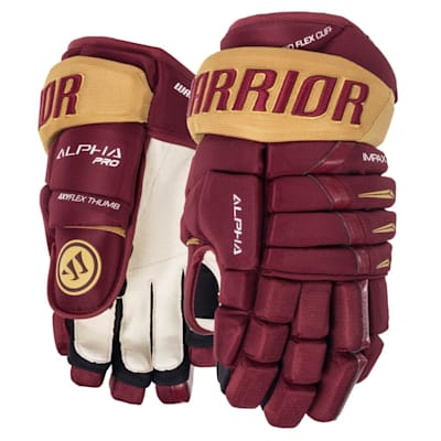 Maroon/Vegas Gold (Warrior Alpha Pro Hockey Gloves - 2019 - Senior)