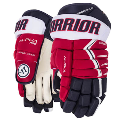 Navy/Red/White (Warrior Alpha Pro Hockey Gloves - 2019 - Senior)