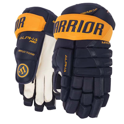 Navy/Sport Gold (Warrior Alpha Pro Hockey Gloves - Senior)