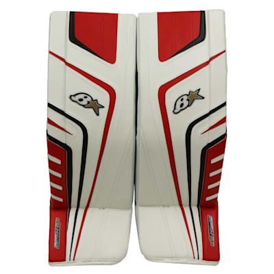 White/Black/Red (Brians OPTiK 9.0 Goalie Leg Pads - Senior)