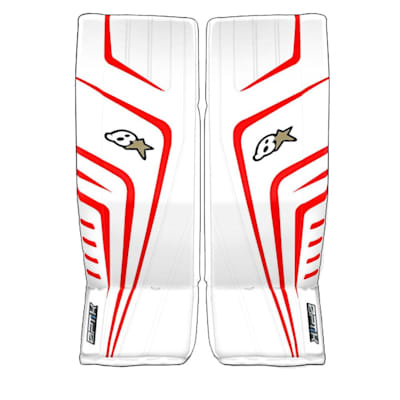 White/Red (Brians OPTiK 9.0 Goalie Leg Pads - Senior)