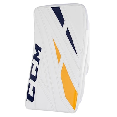 White/Navy/Gold (CCM Extreme Flex 4.5 Goalie Blocker - Junior)