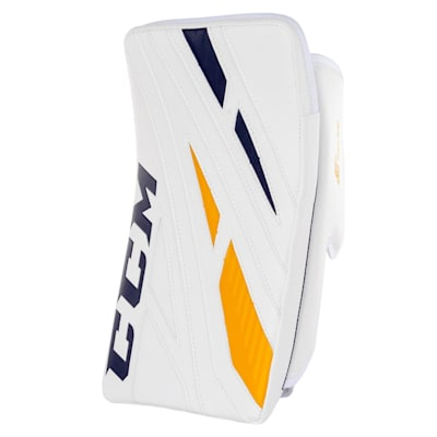 White/Navy/Gold (CCM Extreme Flex 4.9 Goalie Blocker - Senior)