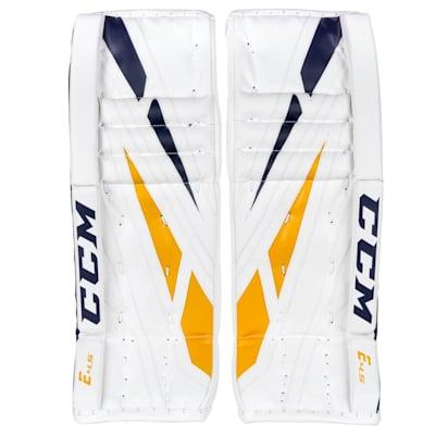 White/Navy/Gold (CCM Extreme Flex 4.5 Goalie Leg Pads - Junior)