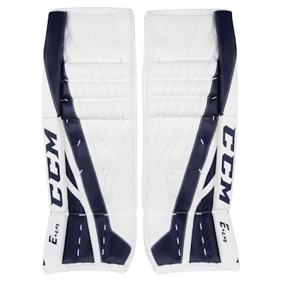 White/Navy (CCM Extreme Flex 4.9 Goalie Leg Pads - Intermediate)