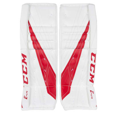 White/Red (CCM Extreme Flex 4.9 Goalie Leg Pads - Intermediate)