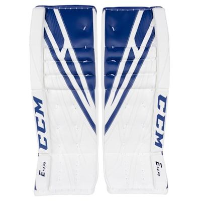White/Royal (CCM Extreme Flex 4.9 Goalie Leg Pads - Intermediate)