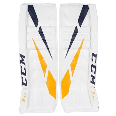 White/Navy/Gold (CCM Extreme Flex 4.9 Goalie Leg Pads - Senior)