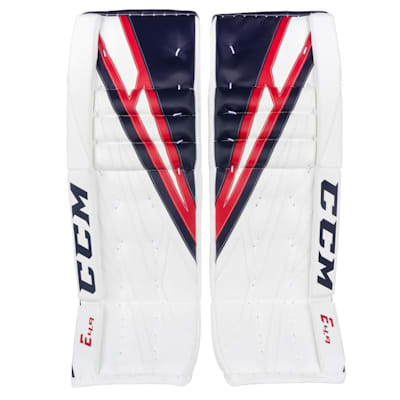 White/Navy/Red (CCM Extreme Flex 4.9 Goalie Leg Pads - Senior)
