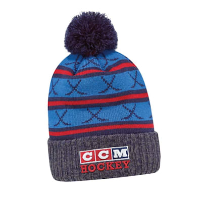 Navy (CCM 3 Block Pom Knit Hat - Adult)
