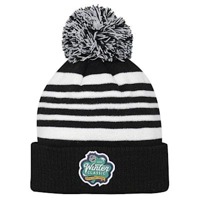 Back (Adidas Chicago Blackhawks 2019 Winter Classic Pom Knit Hat - Youth)