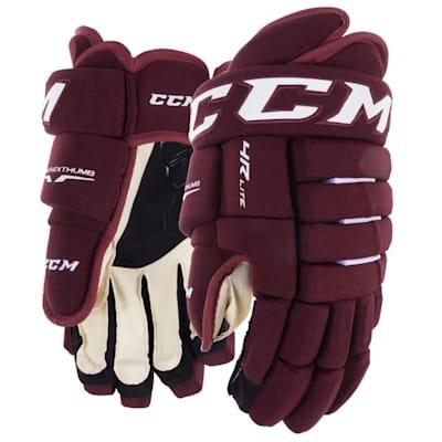 Maroon (CCM Tacks 4R Lite Hockey Gloves - Senior)