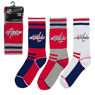 (Adidas NHL 3-Pack Socks Washington Capitals - Youth)