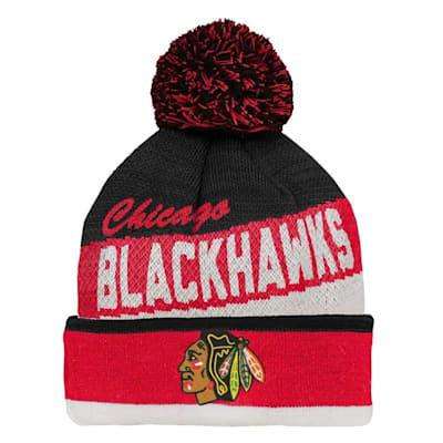 (Adidas Chicago Blackhawks Legacy Jacquard Pom Knit Hat - Youth)