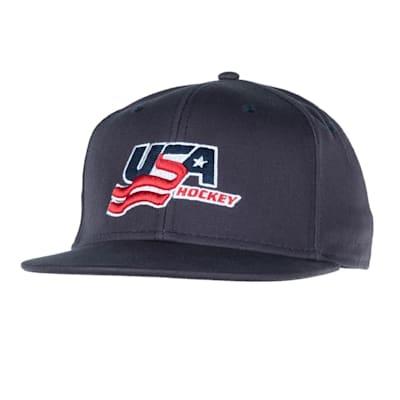 Navy (USA Hockey Flat Brim Snapback Cap - Adult)