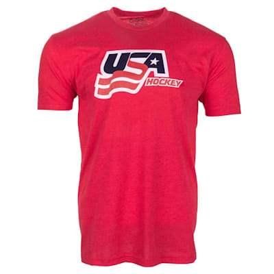 Red Front (USA Hockey Short Sleeve Tee Shirt - Adult)