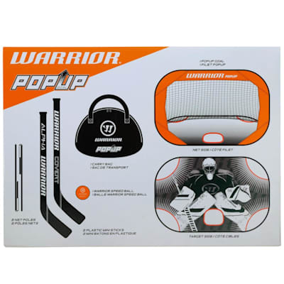 (Warrior Pop-up Mini Hockey Net w/ Sticks and Ball)