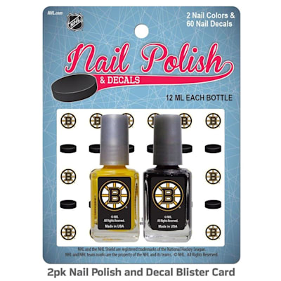 (NHL Nail Polish 2 Pack With Decals - Boston Bruins)