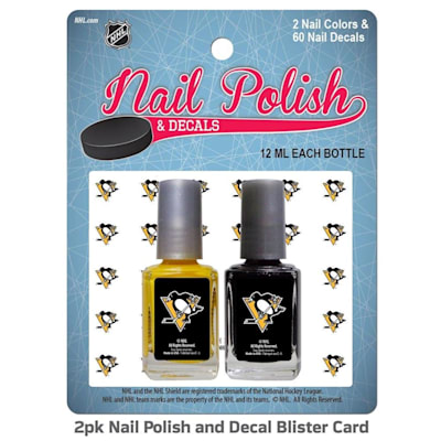 (NHL Nail Polish 2 Pack With Decals - Pittsburgh Penguins)