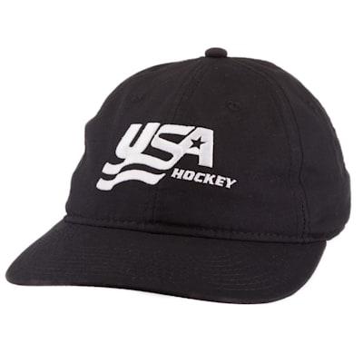 (USA Hockey Black Adjustable Dad Cap - Adult)