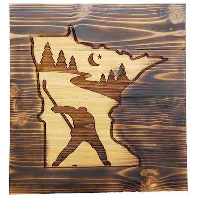 "(13"" x 14"" Minnesota Slapshot - Cedar Sign)"